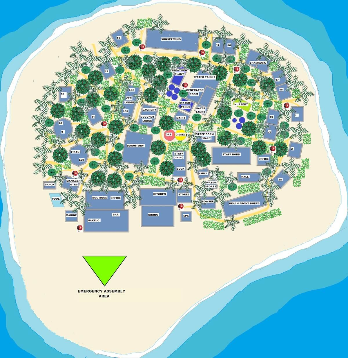 Beachcomber Island Resort Map