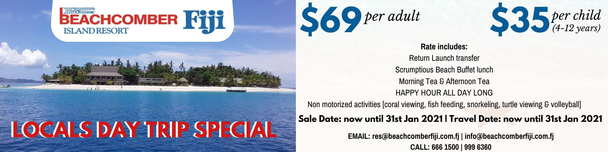 Beachcomber Island Fiji Day Trip Deal Jan 2021